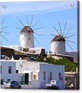 Windmills Mykonos Acrylic Print