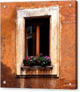 Window And Flowers Rome  Acrylic Print