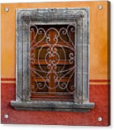 Window On Orange Wall San Miguel De Allende Acrylic Print