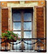 Window Shutters And Flowers I Acrylic Print