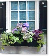 Window Shutters And Flowers Vi Acrylic Print