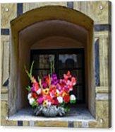 Window Sill Flower Arrangement At Cesky Krumlov Castle In The Czech Republic Acrylic Print