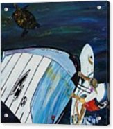 Windsurfing And Sea Turtle Acrylic Print