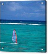 Windsurfing In Clear Ocea Acrylic Print by Allan Seiden - Printscapes