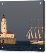 Windy And The Chicago Harbor Light - D009820 Acrylic Print