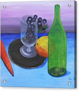 Wine Glass And Fruits Acrylic Print by M Valeriano