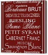 Wine List Red Acrylic Print by Rebecca Gouin