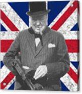 Winston Churchill And Flag Acrylic Print