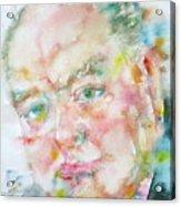 Winston Churchill - Watercolor Portrait.4 Acrylic Print
