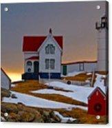 Winter At Nubble Light  Acrylic Print