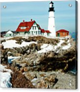 Winter At Portland Head Acrylic Print by Greg Fortier