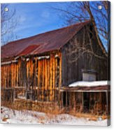 Winter Barn - Chatham New Hampshire Acrylic Print by Thomas Schoeller