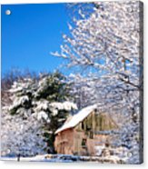 Winter Barn Scene-warren Ct Acrylic Print by Thomas Schoeller