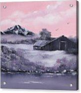 Winter Barns Acrylic Print by Cynthia Adams