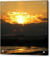 Winter Beach Sunset Acrylic Print