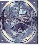 Winter Bridge In Blue Acrylic Print