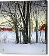 Winter Evening On The Farm Acrylic Print