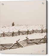 Winter Fence In Oregon Acrylic Print