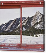 Winter Flatirons Boulder Colorado Red Barn Picture Window Frame  Acrylic Print