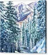 Winter Forest And Mountains Acrylic Print