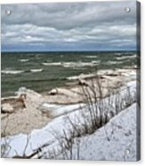 Winter Ice On Lake Michigan Ll Acrylic Print