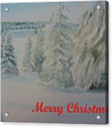 Winter In Gyllbergen Merry Christmas Red Text Acrylic Print