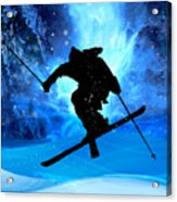 Winter Landscape And Freestyle Skier Acrylic Print