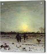 Winter Landscape At Sunset Acrylic Print by Ludwig Munthe
