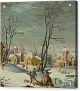 Winter Landscape Of A Village Acrylic Print