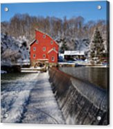 Winter Landscape With A Red Mill Clinton New Jersey Acrylic Print by George Oze