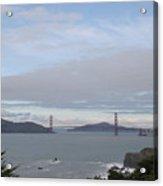Winter Landscape With Golden Gate Bridge Acrylic Print