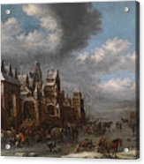 Winter Landscape With Horses Sleighs And Skaters In Front Of A Fortified Town, Acrylic Print