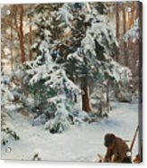 Winter Landscape With Hunters And Dogs Acrylic Print