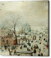 Winter Landscape With Ice Skaters1608 Acrylic Print