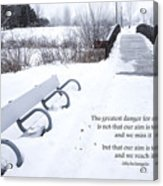 winter landscape with Inspirational Text Acrylic Print