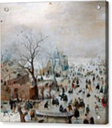Winter Landscape With Skaters Acrylic Print