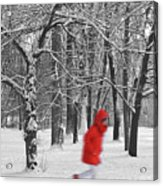 Winter Landscape With Walking Gir In Red. Blac White Concept Gra Acrylic Print