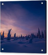Winter Lanscape With Sunset, Trees And Cliffs Over The Snow. Acrylic Print