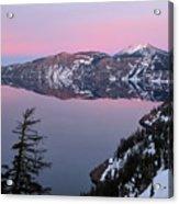 Winter Mirror At Crater Lake Acrylic Print