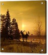 Winter Moose Statue Acrylic Print