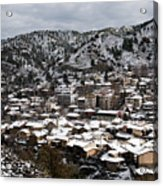 Winter Mountain Village Landscape With Snow Acrylic Print