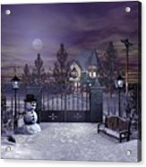 Winter Night Scene Acrylic Print