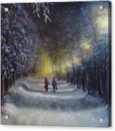 Winter night walk  Acrylic Print