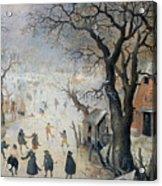 Winter Scene Acrylic Print by Hendrik Avercamp