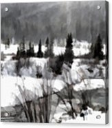 Winter Scene In Black And White Acrylic Print