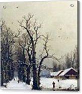 Winter Scene Acrylic Print by Nils Hans Christiansen