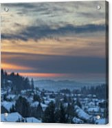 Winter Snow At Sunset In Happy Valley Oregon  Acrylic Print