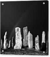 Winter Storm Sky Over Callanish. Outer Hebrides, Scotland.    Black And White Acrylic Print