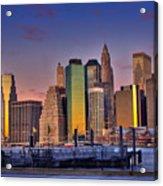 Winter Sunrise Over Downtown Manhattan Acrylic Print