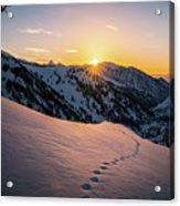 Winter Sunset Over Little Cottonwood Canyon Acrylic Print